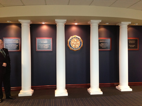 The Four Pillars of the American Legion (Veterans Affairs & Rehabilitation, National Security, Americanism, Children & Youth